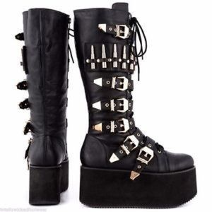 Privileged Shoes - RARE Privileged Bully Bullet Buckle Flatform Boots